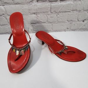 Coach karlyn red charm heel sandals  size 7 GUC